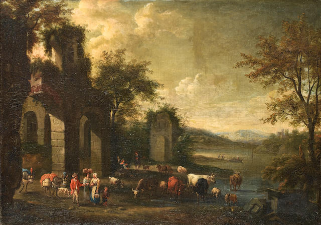 Circle of Pieter Bout (Brussels 1658-1719) Herdsmen watering their cattle and sheep