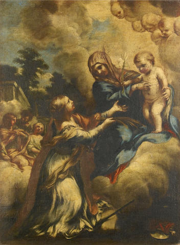 Attributed to Lazzaro Baldi (Pistoia 1624-1703 Rome) The Madonna and Child with Saint Martina