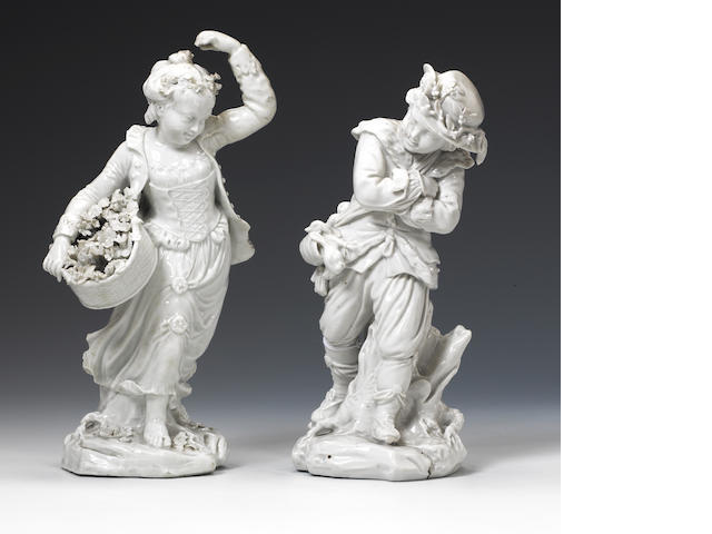 A pair of Bristol figures
