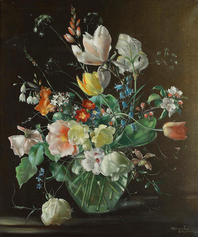 Terence Loudon (British, active 1931-1940) Still life of flowers in a glass vase