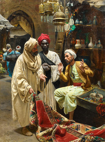 Rudolph Swoboda  (II) (Austrian, 1859-1914) The Carpet Seller
