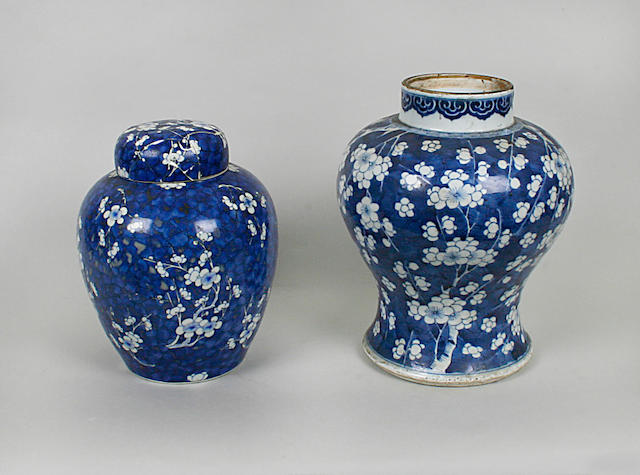 A Chinese blue and white baluster form vase Kangxi period