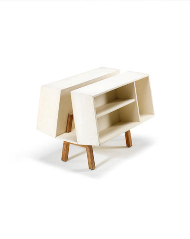 Ernest Race for Isokon, a 'Donkey Mark II' bookcase, designed 1963, after the original by Egon Riss and Jack Pritchard painted plywood,