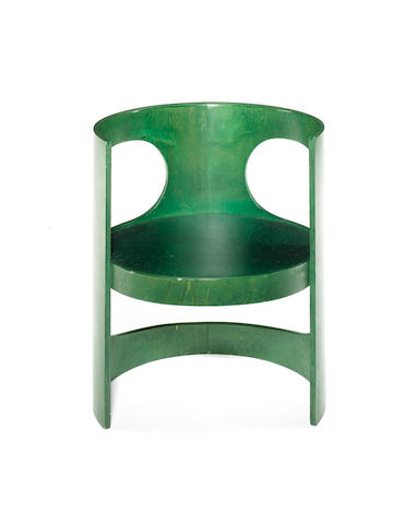 Arne Jacobsen for Asko, a 'Preprop' chair, designed 1969 green painted plywood,