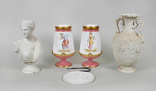 A pair of Victorian George Jones vases