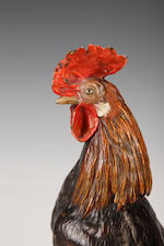Franz BergmannA large Austrian cold painted figure of a cockerel