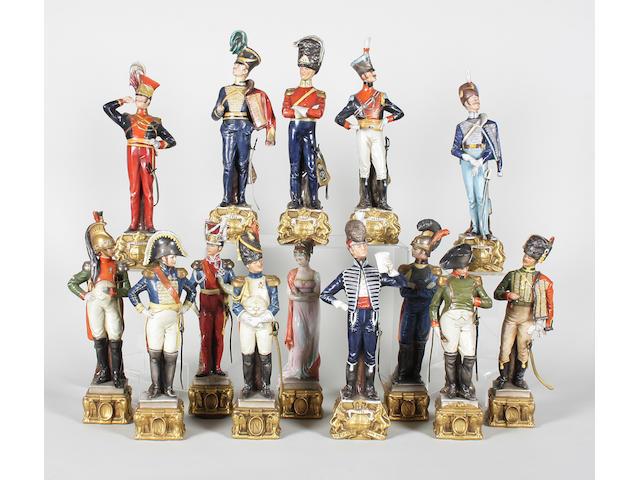 Fourteen Capodimonte style figures 20th Century.