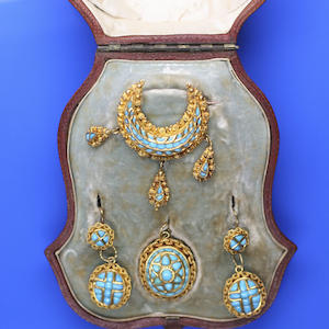 An almost matching suite of turquoise set jewellery