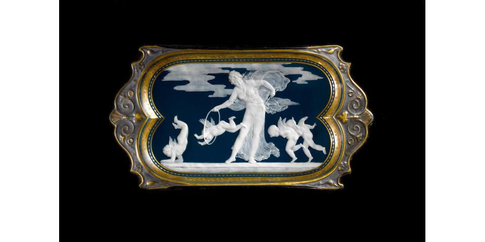 An important Minton pâte-sur-pâte tray by Louis Solon Dated 1891.