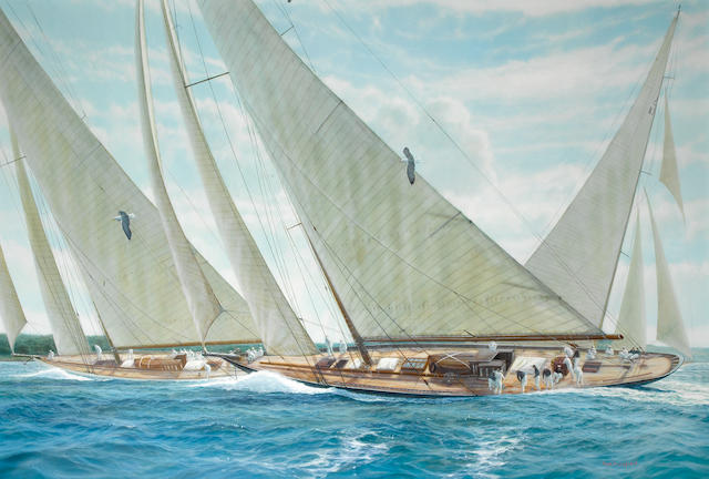 "James H. Bartholomew (British, born 1962) ""Britannia"", ""Candida"" and ""Velsheda"" Racing off the Isle of Wight. Oil on canvas, signed bottom right hand side. 39.5x59in(100x150cm)"