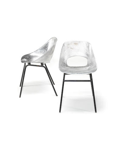 Pierre Guariche for Steiner Meubles, a pair of chairs, designed 1954 cast aluminium with enamelled steel legs
