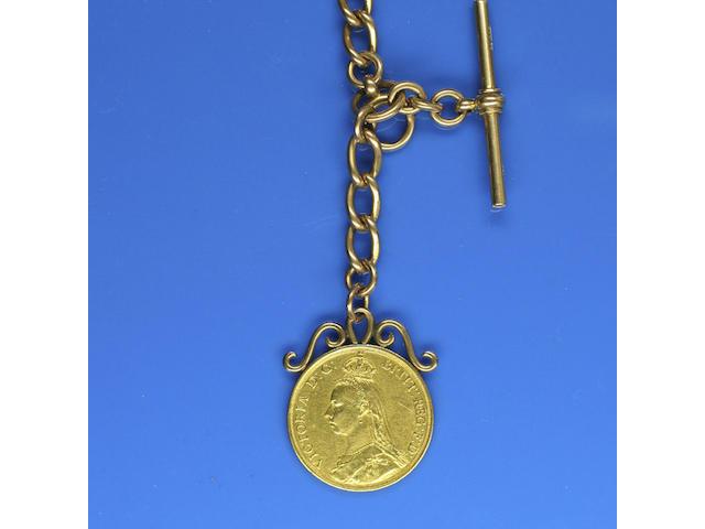 A 15ct gold Albert chain,