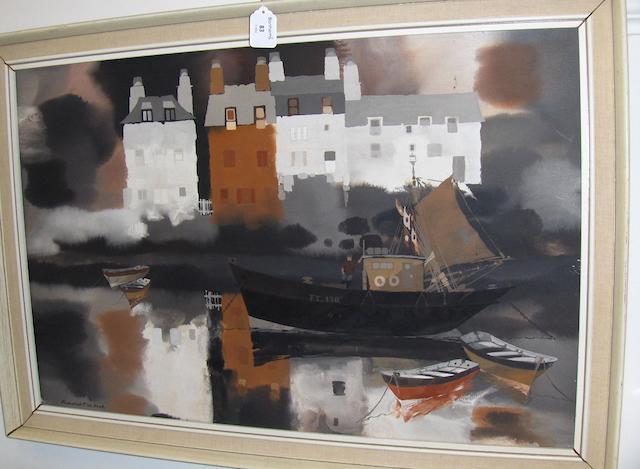 Frederick T.W.  Cook (British, 1907-1982) A Cornish harbour scene, signed, oil on board,