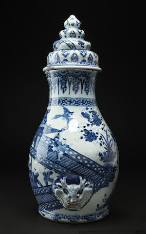 A blue and white wall cistern and cover Kangxi