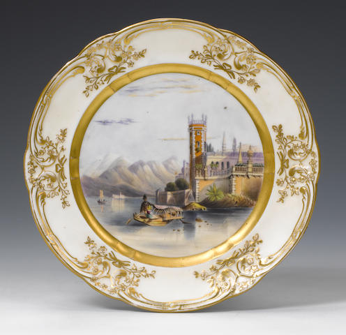 Nantgarw plate with painted scene
