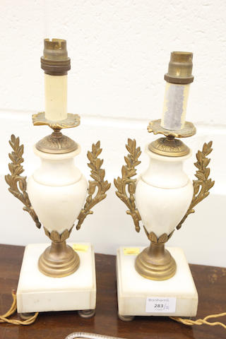 A Pair of Alabaster lamps.