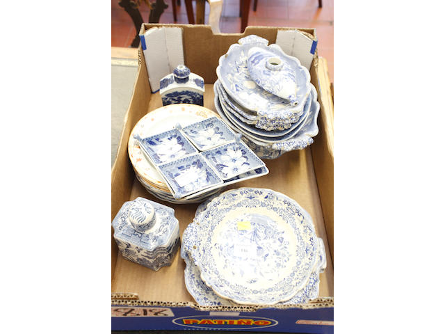 Various pieces of blue and white potter,