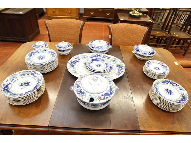 A Mintons Chinese Dragon and Bird, dinner service, including five tureens.