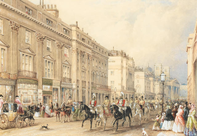 (n/a) George Sidney Shepherd (British, 1784-1862) Drawing Room Day, Regent Street, 1851