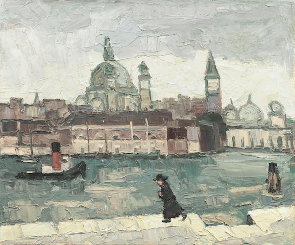 Sir Kyffin Williams, R.A. (British, 1918-2006) Venice in rain 51 x 61 cm. (20 x 24 in.) (Executed in 1950)