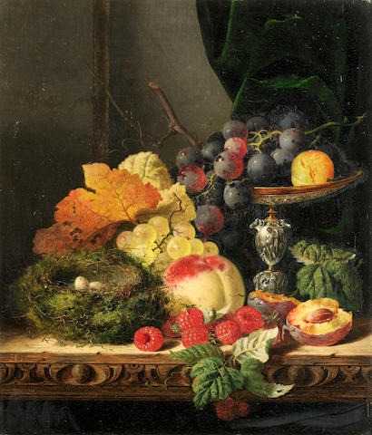 Edward Ladell (British, 1821-1886) Still life with fruit, leaves and a bird's nest on a ledge; Still