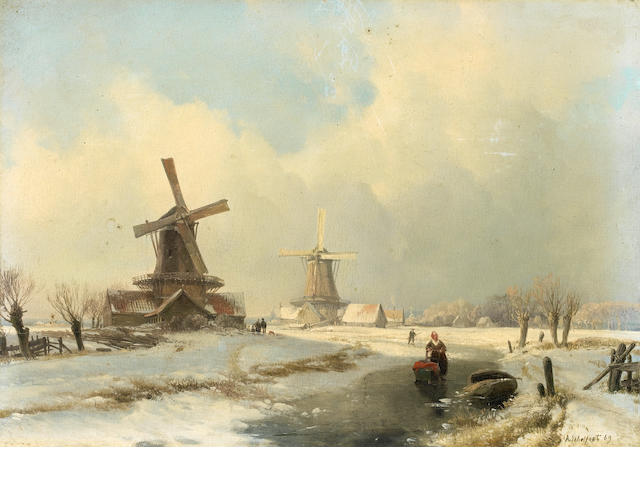 Attributed to Andreas Schelfhout (Dutch, 1787-1870) Winter landscape with two windmills