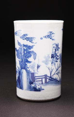 A blue and white brush pot Kangxi