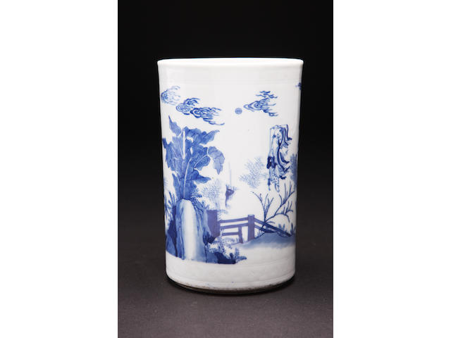 A blue and white brush pot Kangxi
