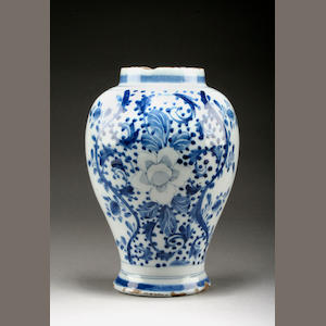 An English delft vase or jar, circa 1750-60