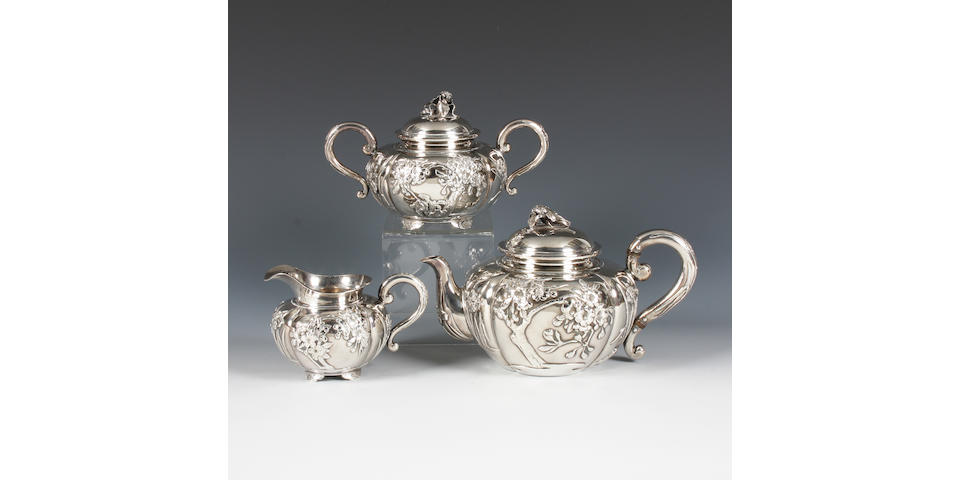 An early 20th century Japanese three piece tea set Stamped with retailer's mark 'Arthur & Bond, Yokohama', and Oriental characters,  (3)
