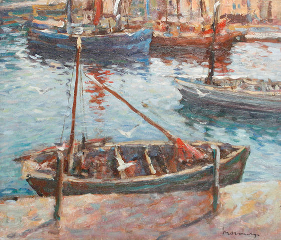 Ken Moroney (British, born 1949) Fishing boats in a harbour