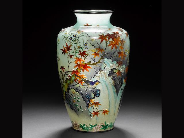 A rare plique-à-jour enamel vase By Kumeno Teitaro of Nagoya (1865-1939), Meiji Period