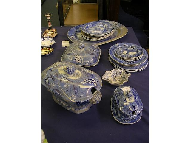 An assortment of blue and white Shipping series dinnerware