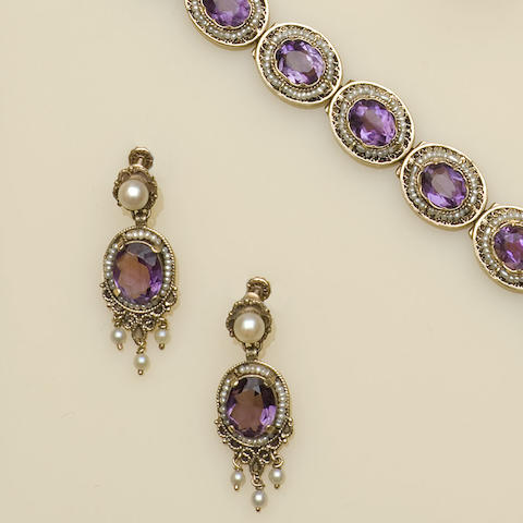 An amethyst and seed pearl bracelet and earpendant suite