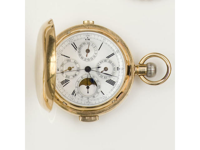 A quarter repeating hunter chronograph pocket watch