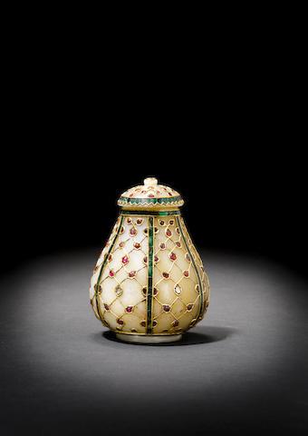 An impressive Indian gem-set jade covered Vessel (2)