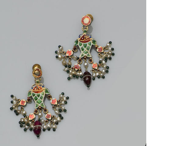 A pair of enamel, seed pearl and gem set pendent earrings