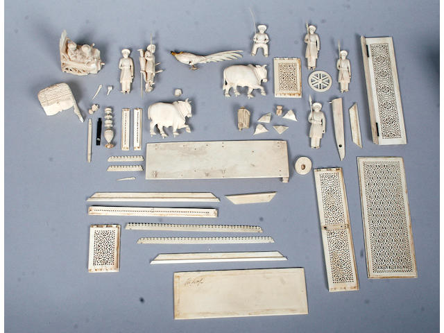 Various turned and carved stained and natural ivory