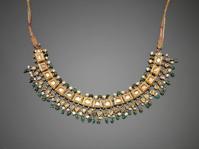 An Indian diamond-set gold Necklace 19th Century