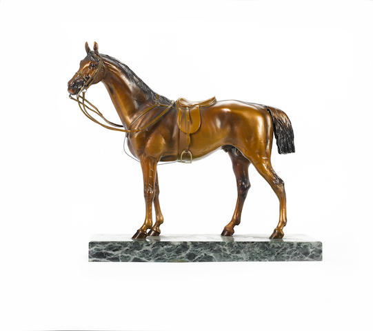 Franz Xavier Bergman, Austrian (1861-1936) A large and rare cold painted bronze model of a horse