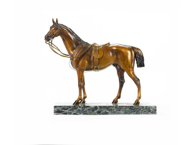 Franz Xavier Bergman (Austrian, 1861-1936): A large and rare cold painted bronze model of a horse