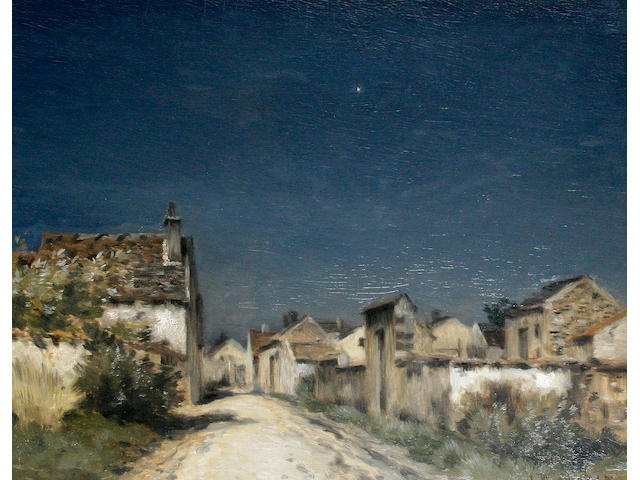 Jean-Charles Cazin (French, 1841-1901) A village street in evening