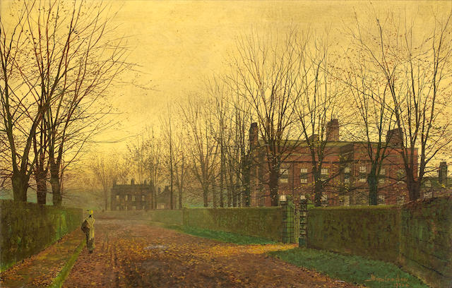 Bonhams : John Atkinson Grimshaw (British, 1836-1893) Autumn Afterglow