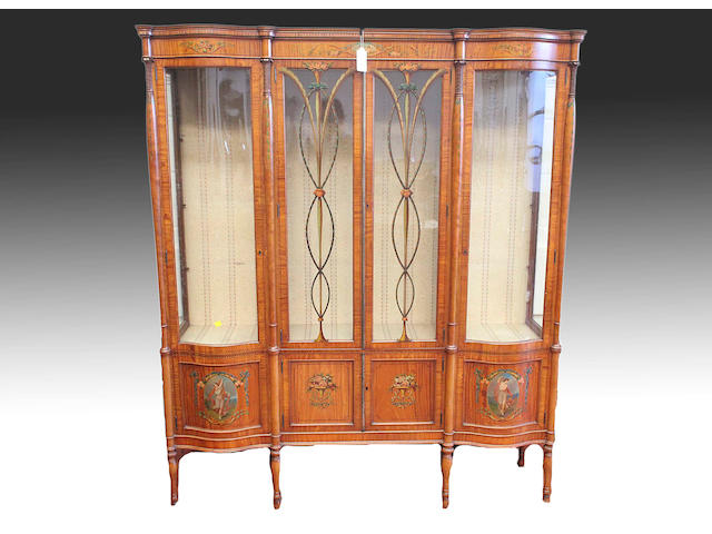 An early 19th Century painted satinwood display cabinet