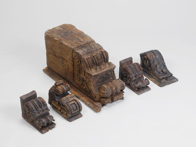 Five Mudejar carved wooden Corbels Spain, 13th-14th Century(5)