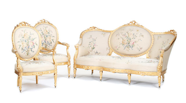 French gilt three piece suite