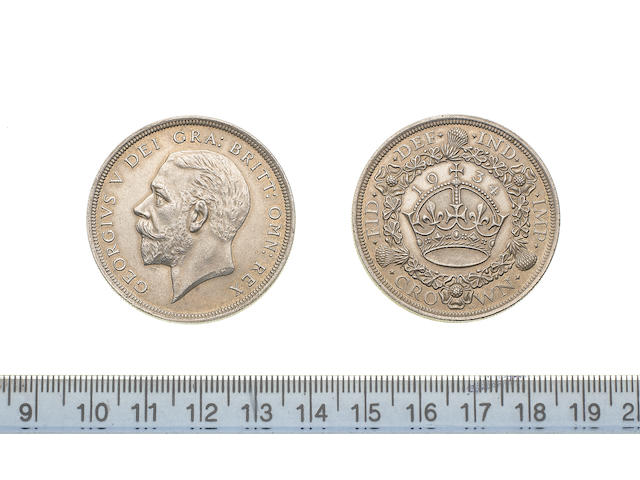 George V, Crown, 1934, modified bare head left,