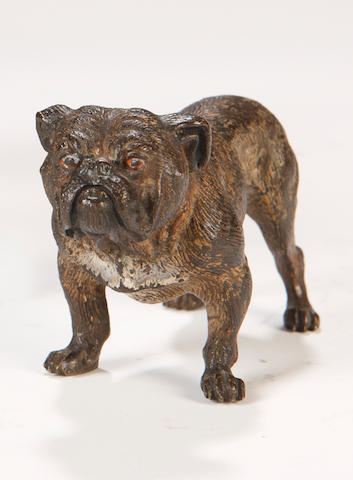 Attributed to Franz BergmannAn Austrian cold painted bronze bull dog