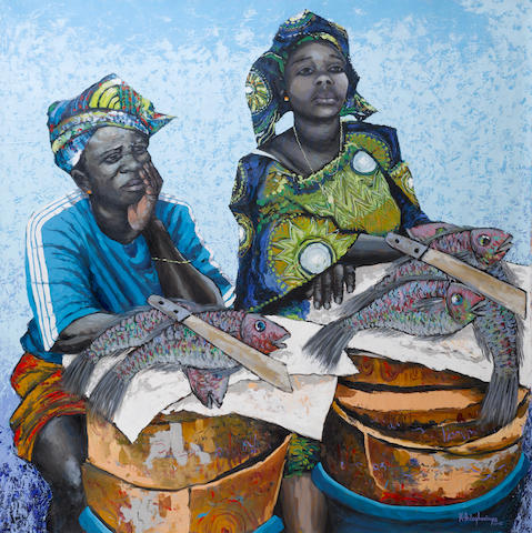 Kunle Adegborioye (Nigerian) Untitled unstretched and unframed