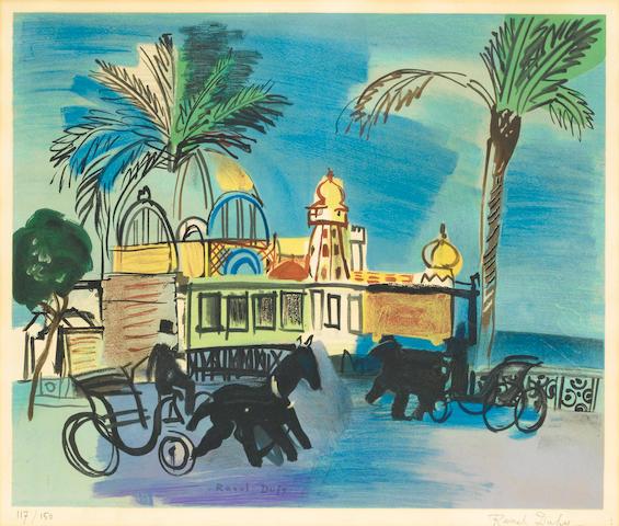 Raoul Dufy (French, 1877-1953) Nice, le Casino de la Jetée aux deux Calêches Lithograph, 1950, print